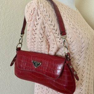Small red bag Faux alligator skin bag shoulder bag